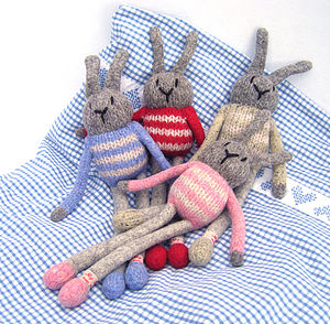 Personalised Wool Knitted Bunny Rabbit - soft toys & dolls