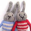 detail of knitted bunny rabbits