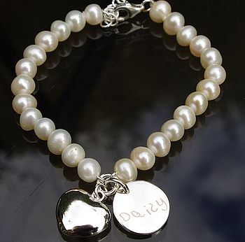 Personalised Silver And Pearl Heart Bracelet - ivory