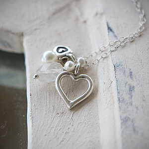 Moonstone And Silver Heart Necklace