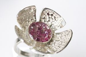 Flower Ring With Swarovski Crystals - rings