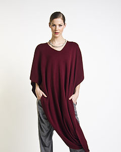 Lana Wool Blend Wrap Bordeaux - women's fashion