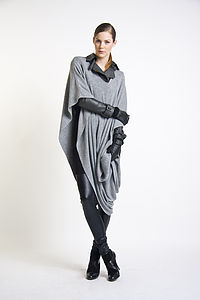 Lana Wool Blend Wrap Grey - women's fashion