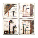 Set Of Four Ceramic Golf Coasters