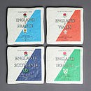 Set Of Four Ceramic Six Nations Rugby Coasters