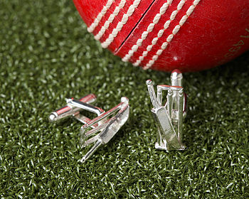 Solid Silver Cricket Wicket And Bat Cufflinks