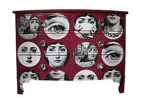 Fornasetti Faces Chest Of Drawers In Red - chests of drawers