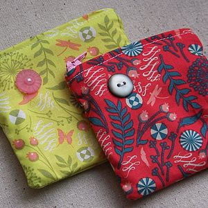 Seed Print Fabric And Button Coin Purse - bags, purses & wallets