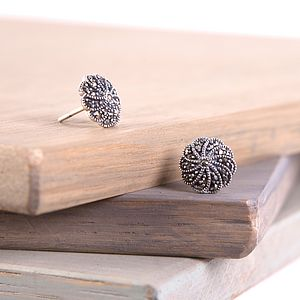 Vintage Silver Marcasite Stud Earrings - earrings