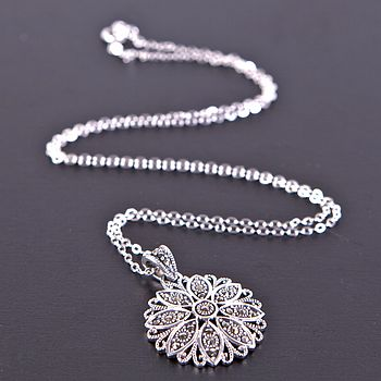 Vintage Style Silver Marcasite Necklace