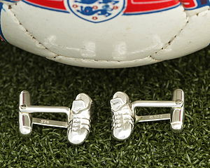 Solid Silver Football Boots Cufflinks - jewellery sale