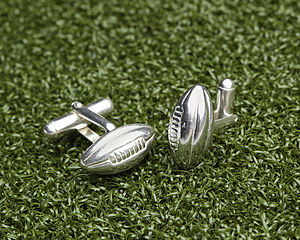 Solid Silver Rugby Ball Cufflinks