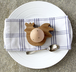 Oak Hen Wooden Oak Egg Cup / Napkin Ring