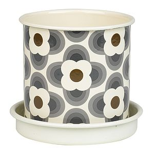 Patterned Grey Daisy Enamel Plant Pot - gifts for the garden