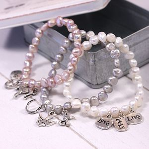 Freshwater Pearl Charm Bracelet - stocking fillers under £15