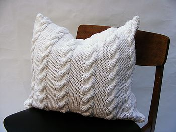Chunky Cable Cushion   Handknit In White