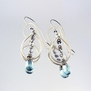Handmade Sequin Gemstone And Silver Earrings - earrings