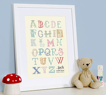 Personalised Vintage Alphabet Art Print