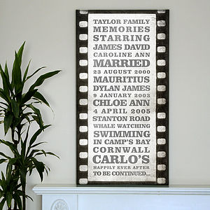 Personalised Film Strip Typography Canvas - paintings & canvases
