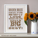 'Golden Rules' Letterpress Poster