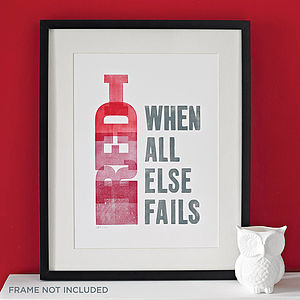 Red Wine Letterpress Print - best selling gift ideas