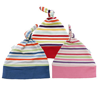 Stripey Organic Cotton Top Knot Baby Hats