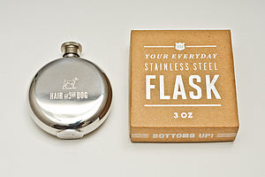 'Hair Of The Dog' Engraved Hip Flask