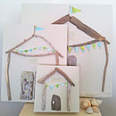 Driftwood And Map Bunting Beach Hut Art