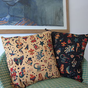 Tattoo Print Cushion Cover - bedroom