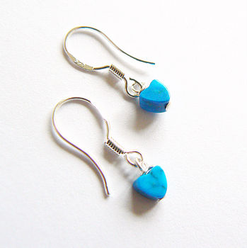 Mini Turquoise Heart Drop Earrings