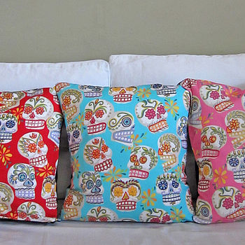 Mexican Glittery Sugar Skulls Cushion Cover