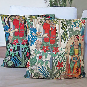 Frida Kahlo Cushion Cover - neon brights living room