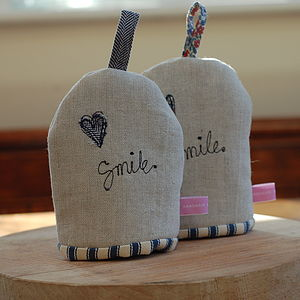 Handmade Linen 'Smile' Egg Cosy - egg cups & cosies