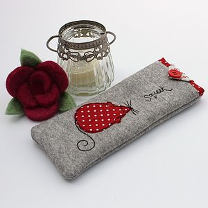 Mouse Appliqued Glasses Case
