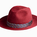 Red Fur Felt Fedora Hat