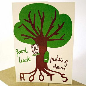 Roots New Home Hand Printed Card - new lines added