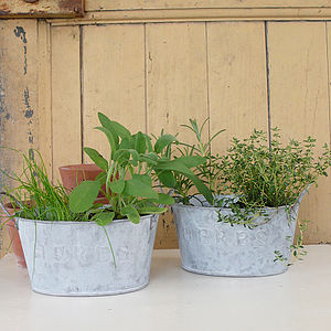 Metal Oval 'Herb' Pot With Handles - pots & windowboxes