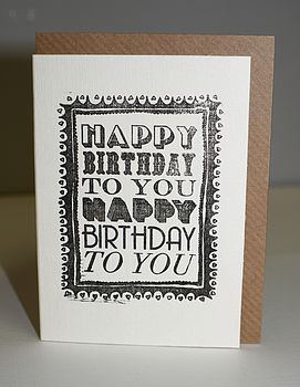 Hand Printed Birthday Card