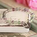 6 mm Fluorite beads with heart initial and rose charm