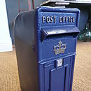 Vintage Style Cast Iron Post Box Blue