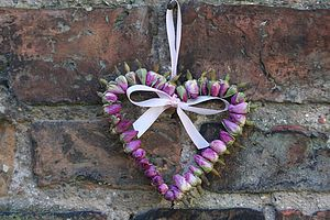 Small Pink Rosebud Heart - hanging decorations