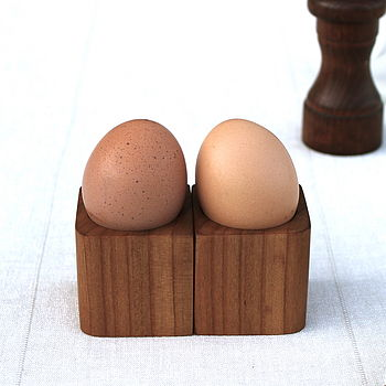 Pair Of Solid Cherry Corner Egg Cups