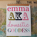 Personalised Domestic Goddess Print