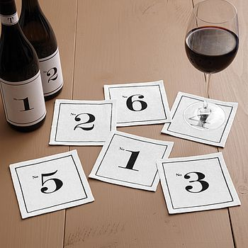 Set Of Six Numerology Cocktail Napkins