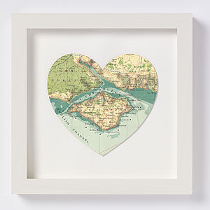 Isle Of Wight Map Heart Print