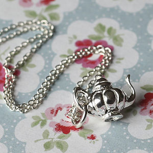 Girls Sterling Silver Teapot Charm Necklace - jewellery gifts for children