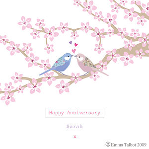 Personalised Anniversary Card: Birds And Blossom