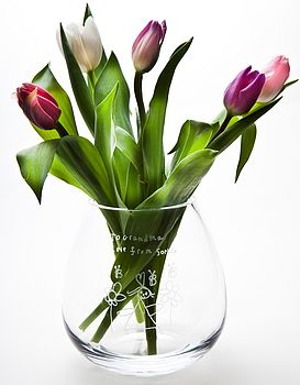 Personalised Engraved Glass Flower Vase