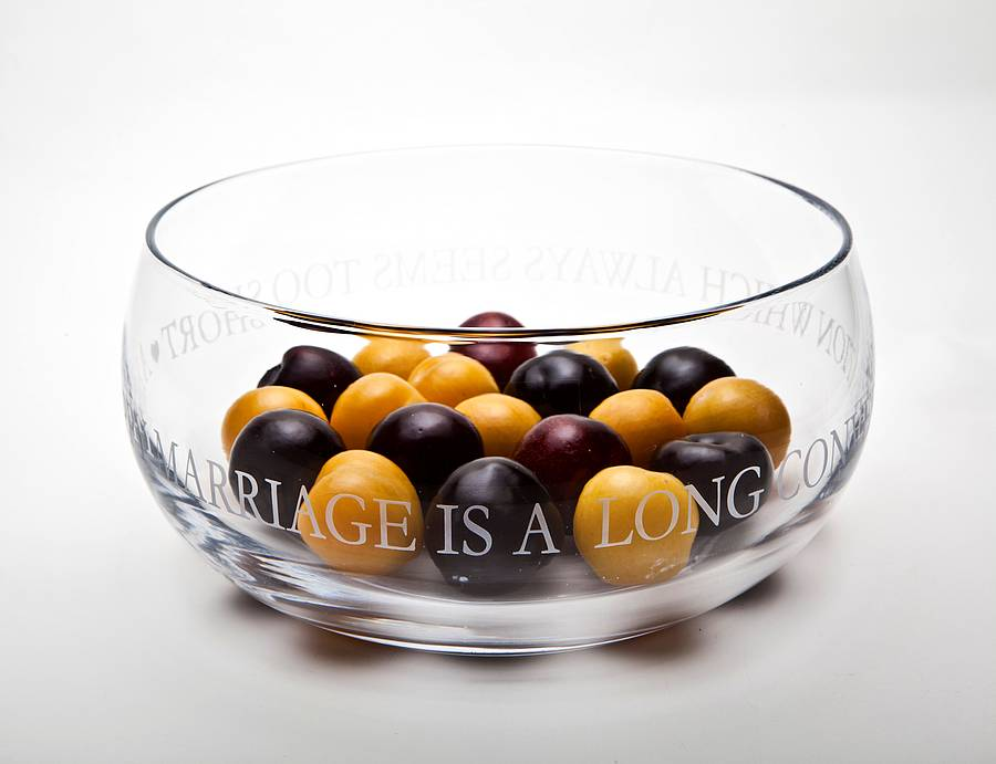 Personalised Engraved Glass Fruit Bowl By The Gift Of