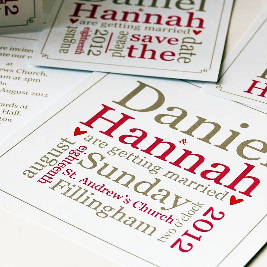personalised typographic wedding stationery by spotty n stripy ...